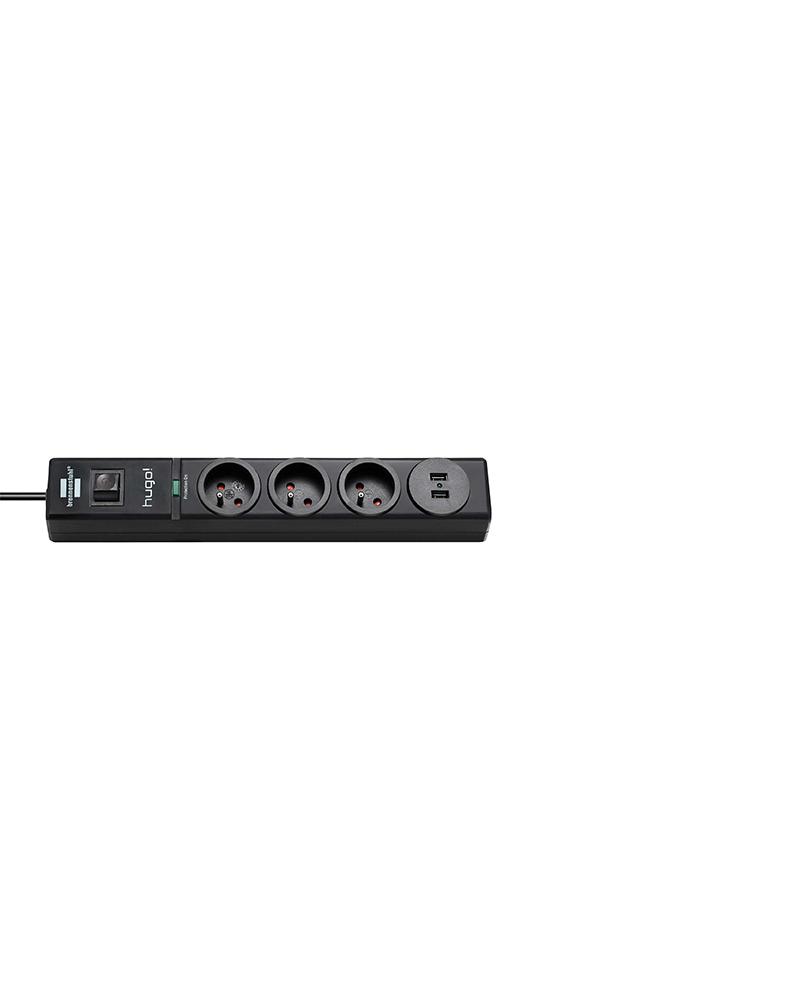 multiprise 3 prises + 2 prises USB noir