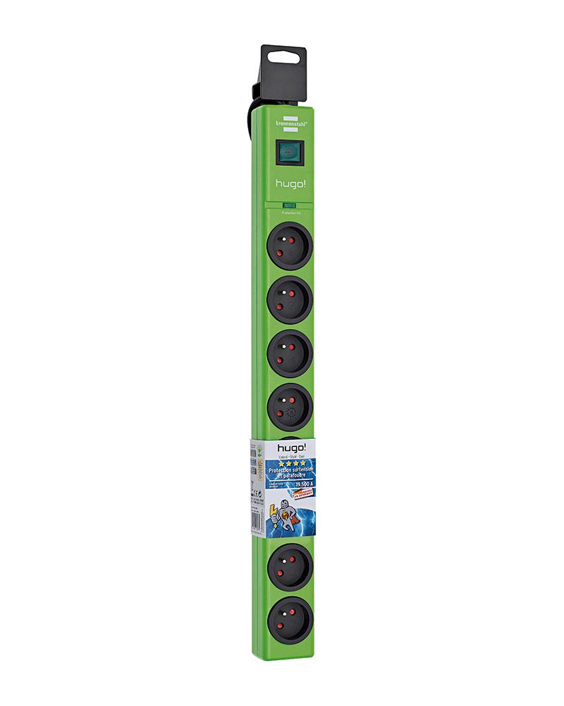 multiprise 8 prises avec parasurtenseur/parafoudre cordon 2 m Vert