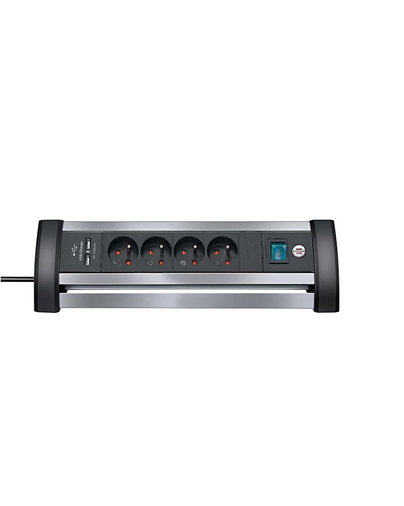 Prolongateur multiprise Office-Line Alu avec prises-chargeur USB