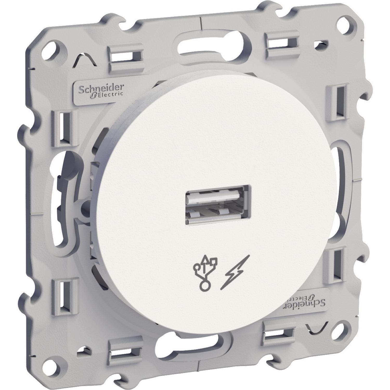 PRISE CHARGEUR USB 5V DC - BLANC - ODACE - SCHNEIDER